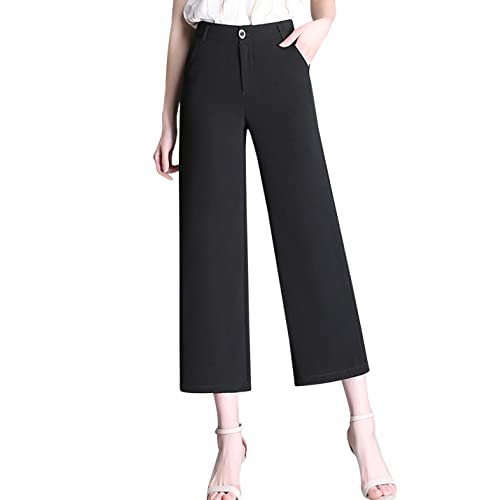63a52be3e Tanming Women's Fashion High Waist Cropped Wide Leg Pants Trousers