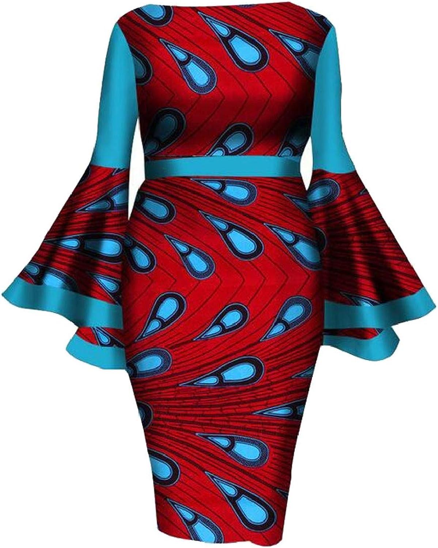 XQS Women Sexy Long Sleeve Ethnic Tribal African Printed Mini Bodycon Dress