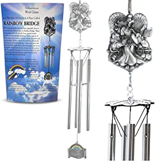BANBERRY DESIGNS Pet Memorial Wind Chimes - The Rainbow Bridge Story Windchime with an Angel and Animal Design - Loss of Dog or Cat Gift Idea - Approx 21 Inches Long - Printed Card Included