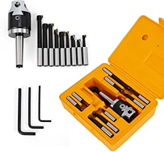 CNC Milling Tools Set,F1-12 MT2-M10 Boring Head Kit CNC Milling Tools Set 50mm+ 9pcs12mm Boring Bars Milling Machine Accessories