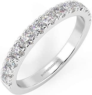 Top Quality F/VS1 Micro Pave Round Diamond Half Eternity Ring in Platinum (0.15ct - 1.00ct)