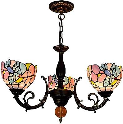 Amazon.com: Tiffany estilo rosa 3 cabezales lámpara colgante ...