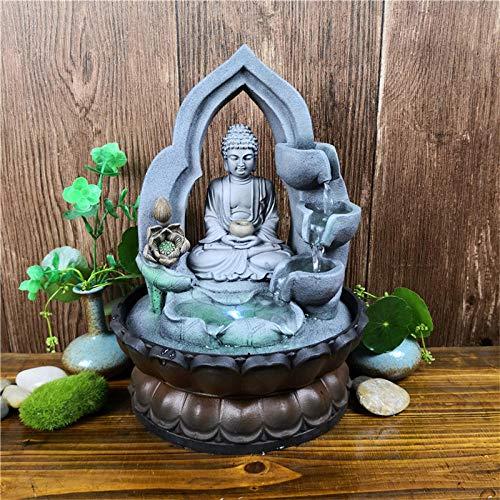 MOAIXKMM Fuente de Cascada de humidificación de Aire Interior Vista de Fuente de relajación de Mesa de Oficina con luz LED Lucky Feng Shui Buddha Statue-US Plug 16102_220V