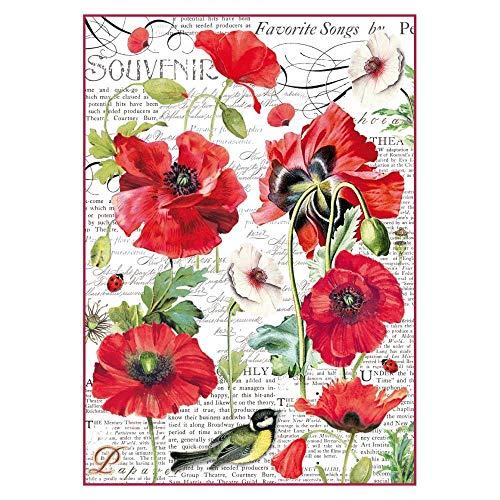 Stamperia Carta di Riso Papaveri, 21x29.7 cm, Multicolore,