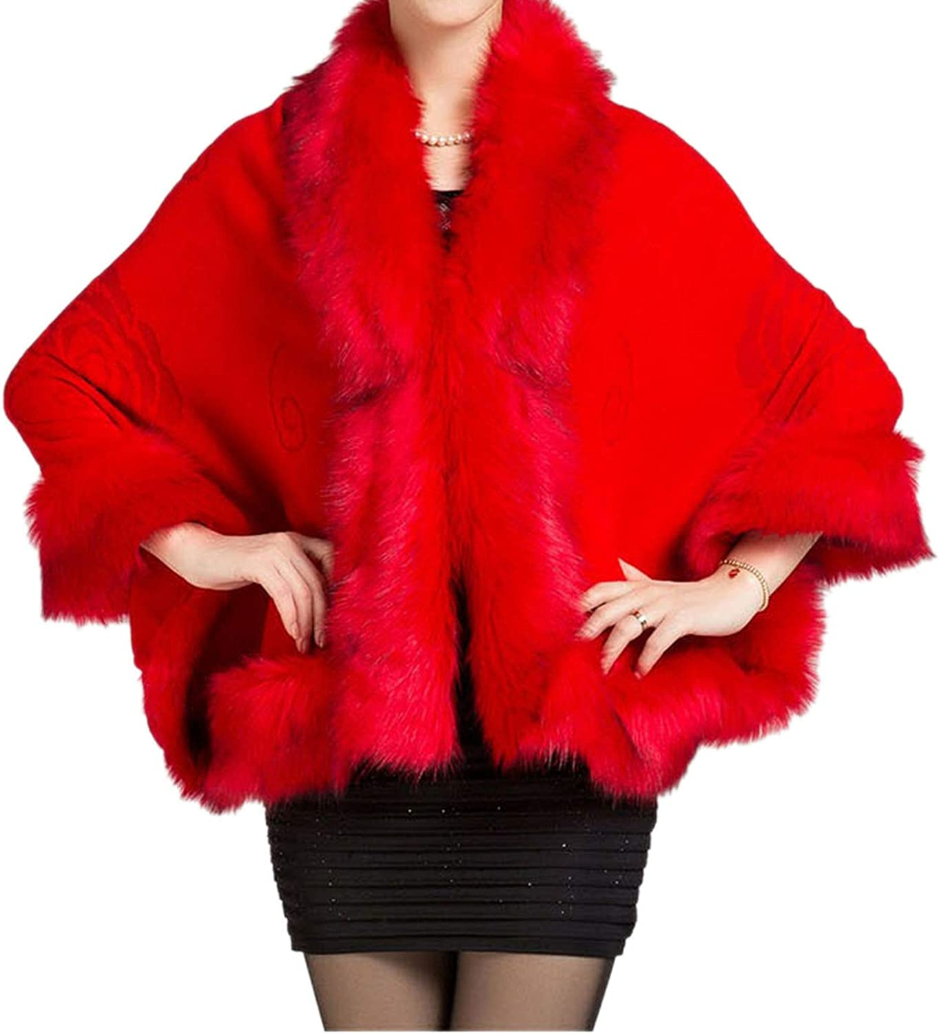 Cloud To Rain Coat Leather Grass Fox Fur Collar Wool Fur Coat,Pure red,One Size