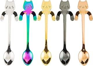 BingGoGo Cute Cat, Coffee Spoon,Tea spoon,Stainless Steel,5 PCS (Multi)