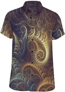 InterestPrint Mens Loose Summer Blue Morocco Pattern Short Sleeve Button Front Summer Printed Shirt for Men