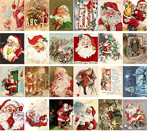 Vintage Christmas Greeting Cards 24pcs Christmas All Faces of Santa Reprint Postcard Set