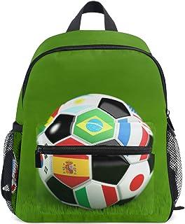 KUWT Soccer Ball Sport Flag Backpack Kids Toddler Child School Bag for Preschool Kindergarten Boy Girls