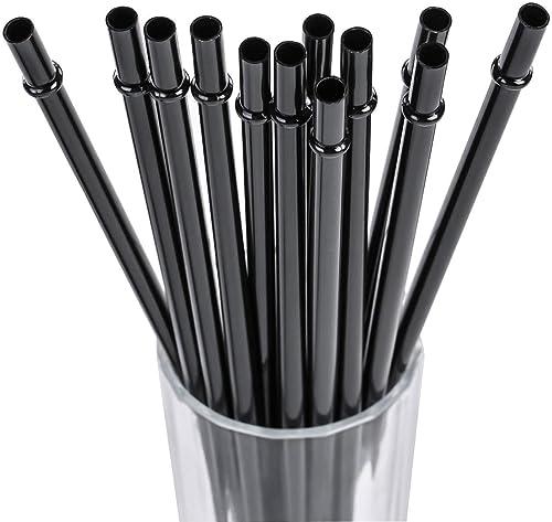 "DAKOUFISH 10"" Long Black Reusable Plastic Replacement Drinking Straws for 16 oz & 24 oz Mason Jar,Tumblers, Set of 12..."