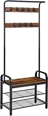 YMYNY Coat Rack, Industrial Hall Trees with Shoe Bench, Industrial Accent Furniture with 9 Hooks, 3-in-1 Design, for Entryway