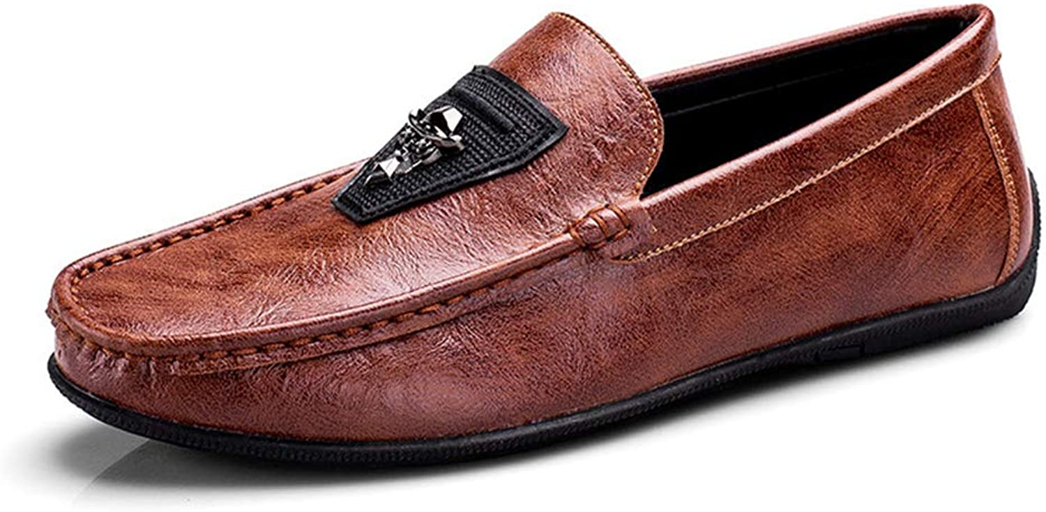 Men'S shoes, Men Loafers Leather Man Footwear Slip on Flat Driving Boat shoes Man Flats Beanie shoes Lazy shoes,b,38