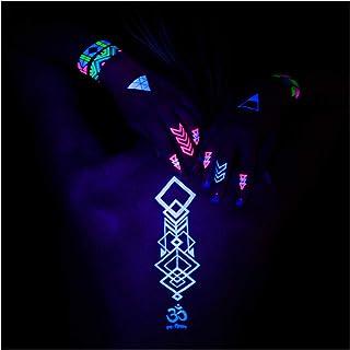 AKTIIV® Kit Tatuajes Temporales   Hakuna Matata Edición   5 x Hojas A5 de Diseños de Neon   Ideal para Fiestas y Festivales de Niños, Adultos, Mujeres, Hombres   Brilla en luz Ultravioleta   Unisex