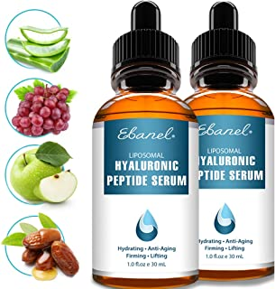 Hyaluronic Acid Serum for Face and Eyes, Enhanced with Eight Peptides, Anti Wrinkle Anti Aging Serum, Hydrating Serum with Vitamin E and B5, Visibly Plump, Firm & Smooth Skin, Reduce Redness, 2-PACK