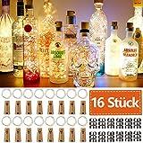 16 Stück Flaschen-Licht JRing 20 LEDs 2M Flaschenlicht Warmweiß Lichterkette korken...