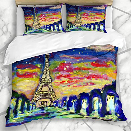 Juegos de Fundas nórdicas Art Eiffel Sunset Paris On Nature Capital French Tower City Ropa de Cama de Microfibra Famosa en Europa con 2 Fundas de Almohada Cuidado fácil Antialérgico Suave Suave