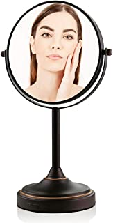 Ovente Tabletop Makeup Mirror, 7 Inch, Dual-Sided 1x/7x Magnification, Antique Bronze (MNLCT70ABZ1X7X)