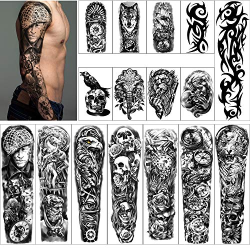 Full Arm Temporary Tattoos 8 Sheets and Half Arm Shoulder Waterproof Tattoos 8 Sheets, Extra Large Tattoo Stickers for Men and Women (22.83'X7.1')