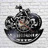 wtnhz LED-Moto Horloge Murale rétro Murale Garage Moto Boutique Noir Suspendu Vinyle Horloge 3D Horloge Murale Cadeau Unique