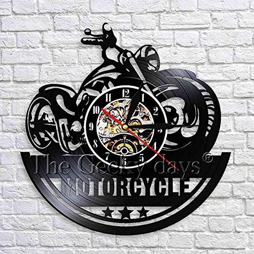 wtnhz LED-Motorcycle Wall Clock Retro Mural Garage Motorcycle Shop Black Hanging Vinyl Clock 3D Wall Clock Unique Gift
