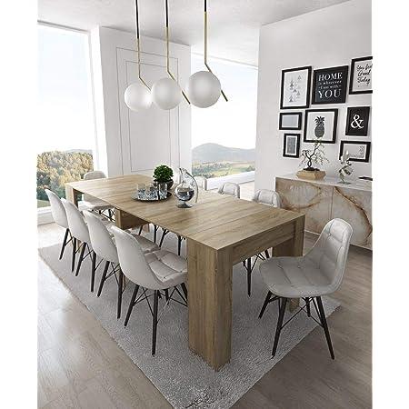 Skraut Home - Table Console Extensible avec rallonges, jusqu'à 237 cm, Salle à Manger, chêne Clair brossé, fermée 90x50x78cm, Jusqu´à 10 pers.