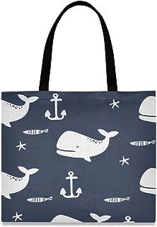 LZXO LZXO Einkaufstasche aus Segeltuch, Motiv Wal, Fisch, Anker mit natürlichem langem Griff, wiederverwendbar, große Einkaufstasche mit Innentasche für Damen und Mädchen