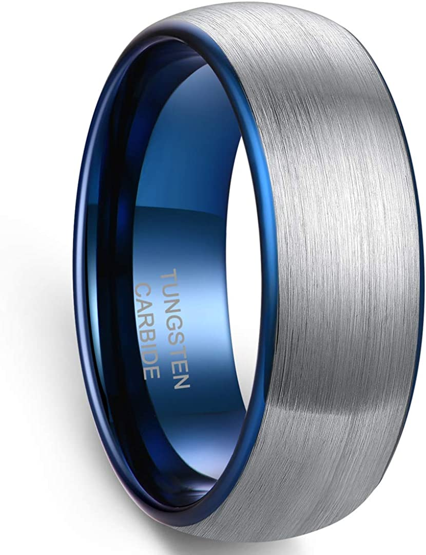 Zoesky Men's 6mm Direct sale of manufacturer 8mm Tungsten Carbide of Reservation Ring The Blu Rings Lord
