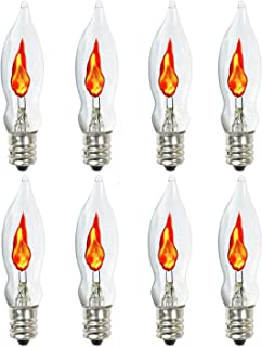8-Pack,Flicker Flame Light Bulb,Flame Shaped Bulb Dances with a Flickering Orange Glow,1 Watt, 120 Volt, E12 Flame Candelabra Light Bulbs