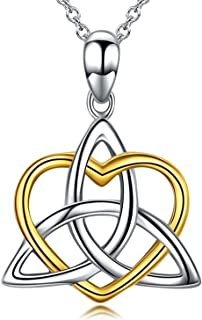 Celtic Knot Jewelry, Celtic Knot Necklace 925 Sterling Silver Triangle Irish Heart Pendant Necklace for Women, 18