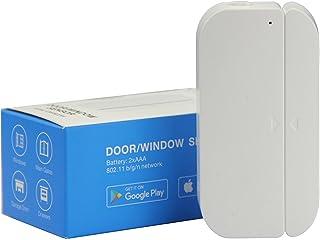 THINKELS-TECH Puerta WiFi y sensores de ventana Imanes Timbre de puerta de seguridad Alarma de campana abierta Aplicación de teléfono inteligente Compatible con Alexa Google Assistant IFTTT