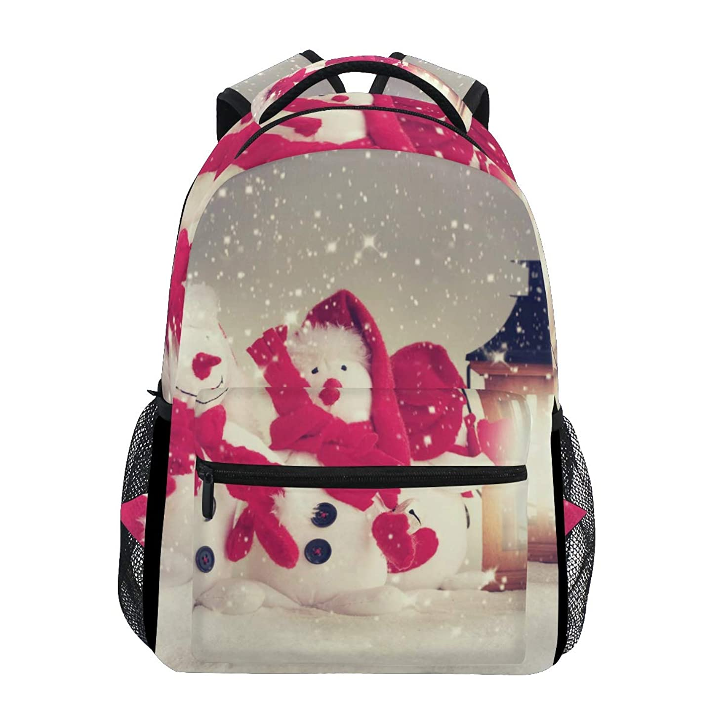 Two Snowmen Sitting By The Lamp Backpack Travel Resistant School Book Bags College Laptop Daypack for Women Girls Boys