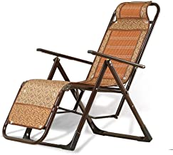 High-quality recliner Deckchair Sun Lounger Lounge Chair, Bamboo Weaving Balcony Office Recliner Sun Lounger Outdoor Garden Patio Gravity Chair Lazy Folding Chair (Color : Brown)