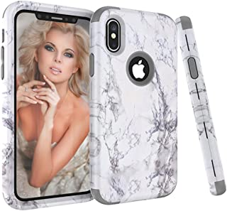 iPhone X Case, VPR Marble Stone Pattern Design 3 in 1 Hybrid Cover Hard PC Soft Silicone Rubber Heavy Duty Shock Absorbing Protective Defender Case for iPhone X 2017 Release (Grey)