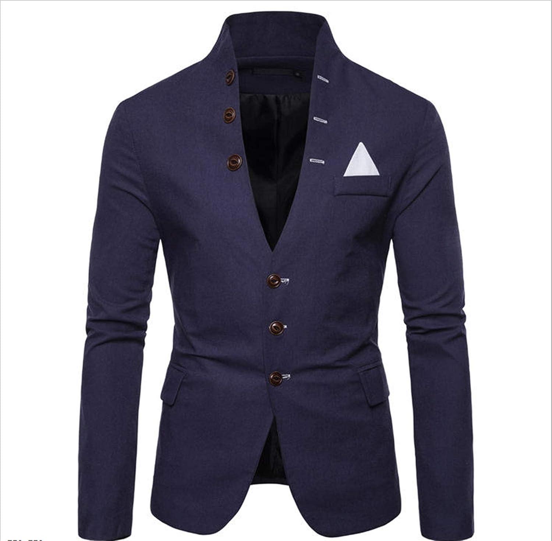 DZHT Mens Multi Button Suit Casual Large Size Solid Color Suits (Color : Navy, Size : Large)