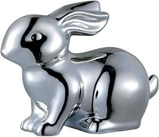 Sagebrook Home AC10286-03 Bunny Rabbit Figurine, Silver Ceramic, 5 x 2.5 x 3.5 Inches