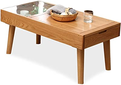 Furniture Coffee Table Wooden Japanese Style Coffee Table with 1 Drawer and Storage Box for Living Room, TV Table, Glass Rectangular Sofa Table, Solid Elegant Functional Table, Easy Assembly Multi-fun