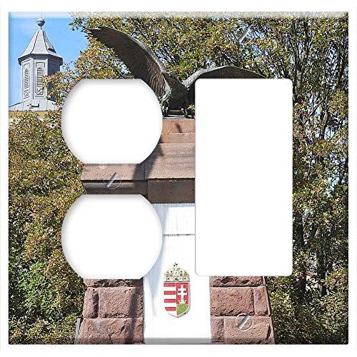 2-Gang, Outlet Rocker/GFCI Combination Wall Plate Cover - Monument Turulmadar Turulvogel Hungarian Mythology