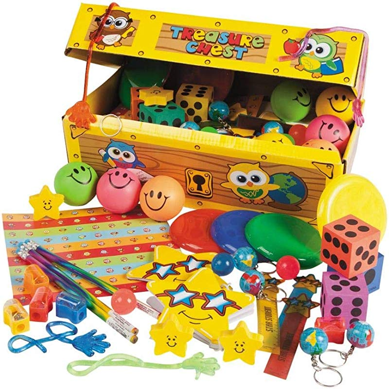 100 Piece School Treasure Chest Assortment Awards Incentives Assortments