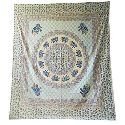 indischerbasar.de Tagesdecke Königselefanten Mandala blau Baumwolle Deko Überwurf