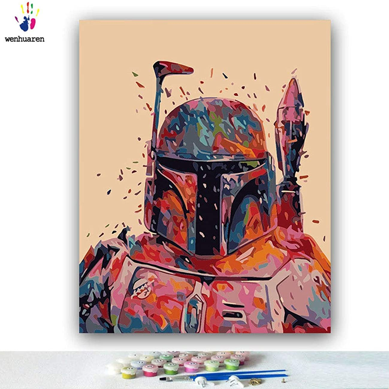Paint by Number Kits Canvas DIY Oil Painting for Kids, Students, Adults Beginner with Brushes and Acrylic Pigment -Star Wars Movie Character Darth Vader Kylo Ren (21160, 16x20 no Frame)