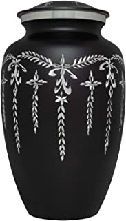 Ansons Urns Black Cremation Urn - Colorful Funeral Urn in Several Colors - Large Burial Urn Human Ashes Adult Size 220 lbs - Aluminum with Shiny Silver Engraved Design