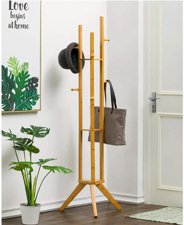 Coat Rack, Wooden Coat Stand Rail Rack with 6 Hooks Umbrella Handbag Hat Clothes Storage Hanging Organiser Holder (color   Wood color)