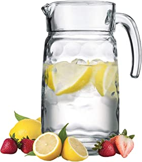Decorative Glass Clear Pitcher With Handle & Pour Lip for Water, Iced Tea and Lemonade - Durable Bubble Design Glass Water Pitcher, 64 oz