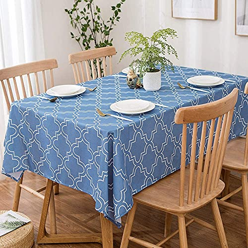 Blue Square Tablecloth 52 x 52-Inch , Printed Table Clothes Spill Proof and Waterproof