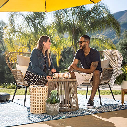 Best Choice Products 3-Piece Outdoor All-Weather Wicker Conversation Bistro Furniture Set w/ 2 Chairs and Glass Top Side Table, Tan