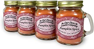 Our Own Candle Company Pumpkin Spice Scented Mini Mason Jar Candle, 3.5 Ounce (4 Pack)