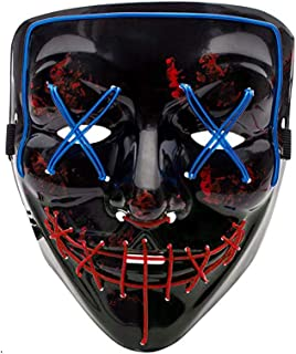 ABDPQC Party Scary Mask Cosplay Led Costume Mask Festival Cosplay Easter Birthday Cosplay Costume (Red Blue)