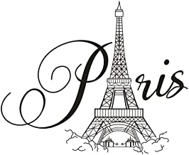 BooDecal Paris Eiffel Tower Wall Decals Lettering Quotes Wall Stickers Romance Decoration Living Room Bedroom 27 Inches x 22 Inches