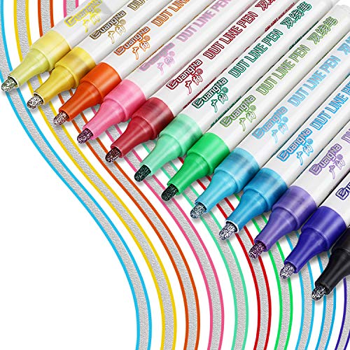 RATEL Doppelte Linie Stift, 12 Farben Acrylstifte, Outline Stift Double Line Marker Glitzerstifte fur Kartenschreiben / Geburtstagsgrupkarte / Sammelalbum / Malen / DIY Kunsthandwerk