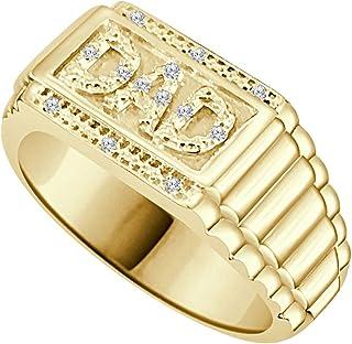 مجوهرات تريليون 0.04CT الماس الطبيعي 14K الذهب الأصفر إنهاء الرجال خاتم الأب